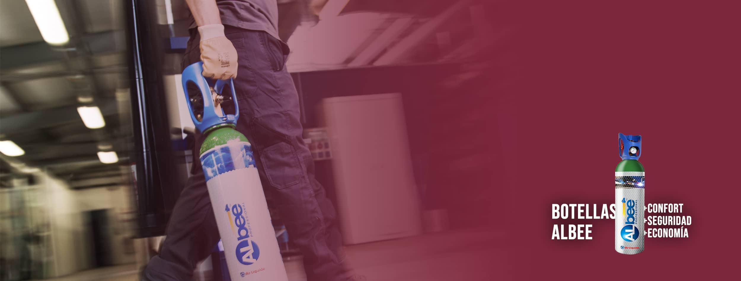 Botella ALbee en taller descripcion